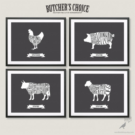 Butcher charts rustic kitchen decor bacon print kitchen wall