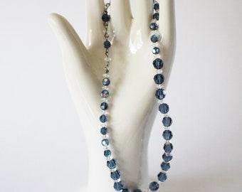1950s Blue Clear Glass Bead Necklace Adjustable Length Aurora Borealis