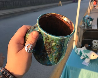 Mossy copper coffee tea mug