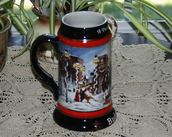 Vintage Budweiser A Perfect Christmas Beer Stein Tankard from 1992 Brazil Anheuser Busch Holiday Stoneware Mug Barware Bar Breweriana
