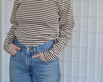 Cotton Brown and White Ribbed Stripped Turtleneck Top, Size M