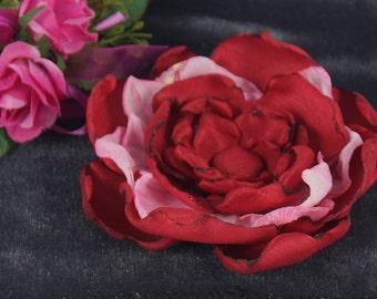 Flowers red/pink, fabric flower, flower clip, fabric flower for dress, fabric flower wedding, hair jewelry boho, Bachelorette farewell