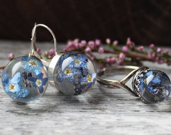 Forget me not jewelry Real flower jewelry Real flower earrings Real flower ring Flower resin jewelry Terrarium earrings Terrarium ring
