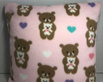 Pink and Purple Teddy Bear Embroidered Reversible Accent Pillow