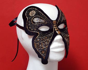 Butterfly Masquerade Mask / Black Gold & Silver Hand Painted Mask