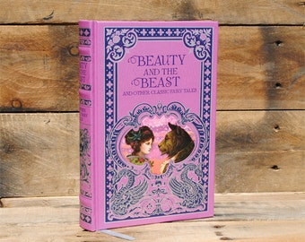 Hollow Book Safe - Beauty and the Beast - Pink Leather Bound