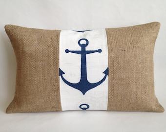 Anchor Fabric and Burlap Pillow Lumbar Cover