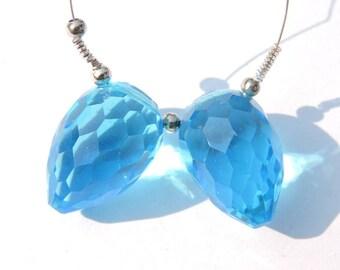 2 Pcs Swiss Blue Quartz Faceted Drops Shaped Beads Gemstone Drops Briolettes Size 22X15 MM