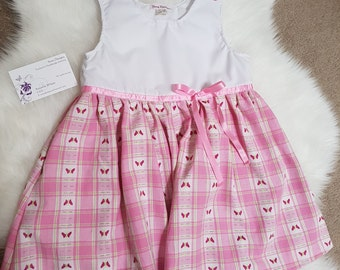 Pink and white cotton dress