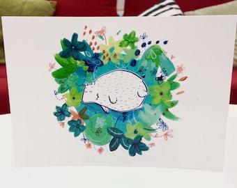 Round Bear Postcard