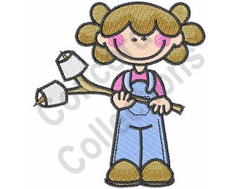 Marshmallow - Machine Embroidery Design, Girl