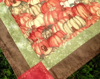 Autumn, fall, pumpkin, borders, table runner/cover, set of 2 orange,green,brown,gold,cotton,lined,38x15 in.,16x16 in., harvest, thanksgiving