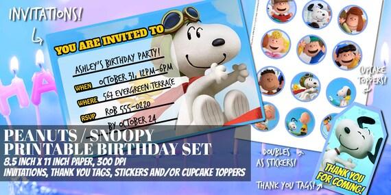 Maní / Snoopy / Charlie Brown inspirado paquete cumpleaños