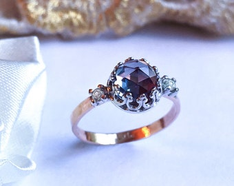 Alexandrite Engagement Gold ring, Alexandrite Crown ring, Romantic Alexandrite & White Sapphires ring, 9ct, 14k, 18ct solid Gold ring.