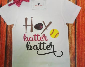 Baby Girls Clothes, Hey Batter Batter Shirt, Softball Top