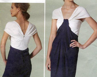 Free US Shipping Vogue 1281 Stunning Cocktail Dress Cape Drape Shoulder Draped Front Designer Donna Karan High Fashion Dress Size 6/14 14/22