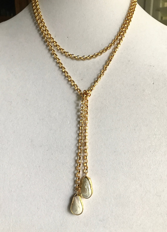 """Lariat, Pearl Lariat, Bezel Pearl Gold Lariat, Rolo Chain, 22K Gold Plate, 48"""" long"""