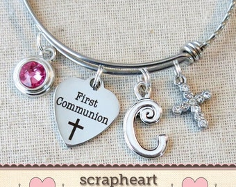 FIRST COMMUNION Bracelet, Girls First Communion Gift, Religious Cross Jewelry,Personalized 1st Communion Charm Bracelet,Girls Birthstone -00