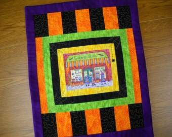 handmade halloween wall quilt table runner holiday trick or treats general store original art spider
