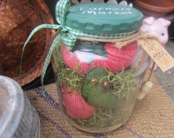 TOMATO TOMATOE JAR~ Up cycled~ Chalkboard Lid~ Green Worm~ Farmhouse Decor~ Summer~ Mason Jar Decor~ Handmade Gift~ Garden Decor~