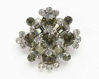 Vintage Juliana Black Diamond and Clear Rhinestone Brooch Pin Brilliant Delizza and Elster