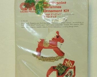 Columbia Minerva Christmas Ornament kit 8261 Needlepoint Sleigh & Horse Vintage 1978