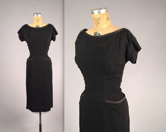 "1950s ""R&K Originals"" black dress with pockets • vintage 50s wiggle dress • bombshell cocktail dress"