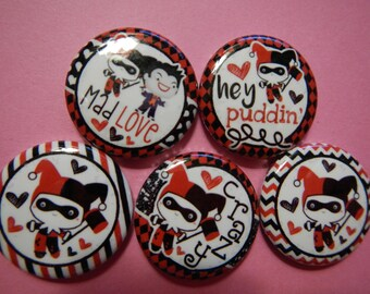 5 Harley Quinn Joker Button Shower Goody Gift Treat  Party Favors Brooches