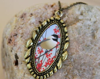 Chickadee Pendant Necklace, Boho Bird Red Winter Nature Woodland Jewelry Gold Drawing