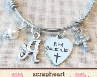 FIRST COMMUNION Bracelet, Girls First Communion Gift, Religious Cross Jewelry, Personalized 1st Communion Charm Bracelet, Confirmation Gifts