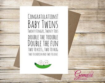 Greeting Cards, New baby, Twins, Peas in a pod, Congratulations, Baby Shower