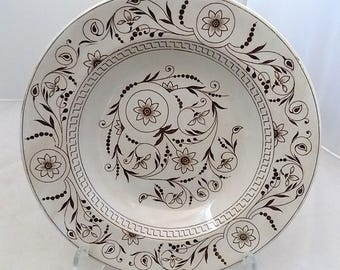 Antique Dresden Soup Bowl TG & FB Brown Sunflower Pattern