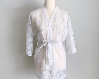 1960s White Lace Robe Size Medium | Vintage 60s Nylon Peignoir Robe Cardigan