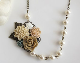 Autumn Vintage Inspired Nature Floral Necklace. Almond Large Dahlia Flower Dusty Pink Latte Brown White and Grey Rose  White Pearls Necklace