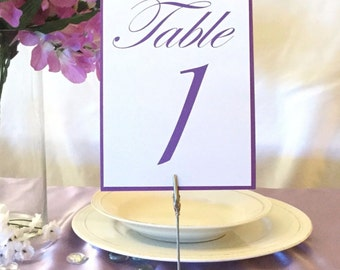 Purple & White Table Numbers (Choose Your Quantity)