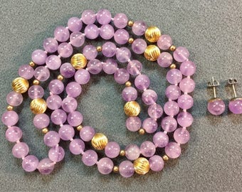 Lavender Stone Hand Knotted Bead Necklace and Pierced Earrings . Free shipping