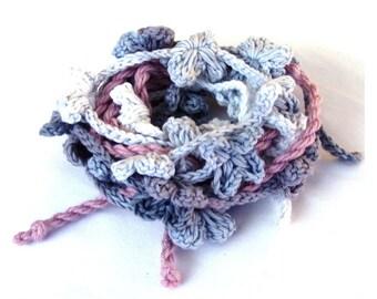 Floral crochet hair crown flower cottage chic hair garland bridal rustic wedding garland bridesmaid belt feminine bracelet