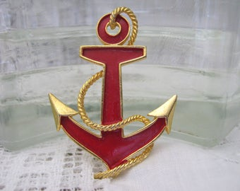 Anchors Aweigh! Red Enamel Brooch with Gold Details