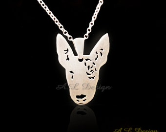 Sterling Silver Bull Terrier Necklace, Bull Terrier Necklace, Bull Terrier Pendant, Bull Terrier Dog, Bull Terrier, Dog Pendants