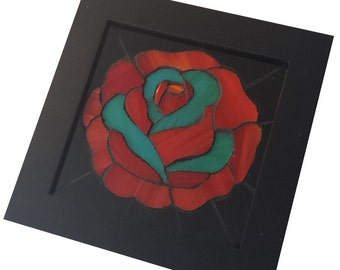 Traditional Tattoo Stained Glass Mosaic Red and Blue Rose