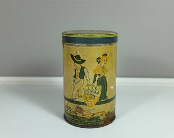 Vintage Elesca tin box, made in France - Vintage flour canister by Elesca from the 30' - Retro flour tin L.S.K C.S.Ki.