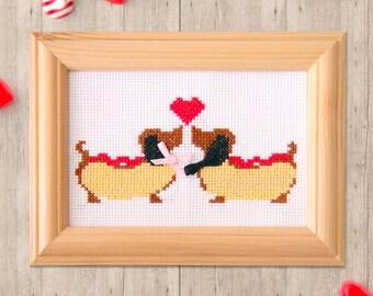 Hot Dogs Cross Stitch Pattern - Valentines - Modern Cross Stitch Pattern - Instant Download - Cute Cross Stitch - Love Cross Stitch