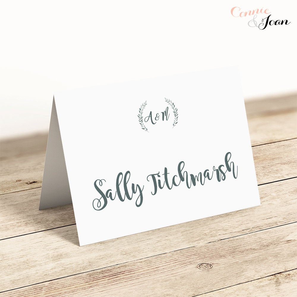 Printable place cards template flat and folded table name