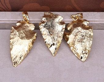 2/6pcs Small size Gold electroplating jasper arrow pendant, full gold plated quartz stone pendant, arrowhead druzy pendant