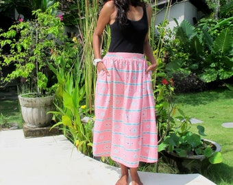 Pink Mid Calf Skirt with Pockets, OOAK