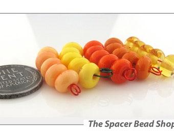 ORANGE GROVE Yellow HALF Bead Sets Lampwork Spacers Glass Handmade - The Spacer Bead Shop