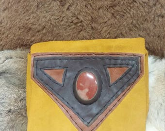 Stone inlay suede belt bag