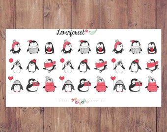 penguin planner stickers, winter planner stickers, happy planner stickers , Christmas planner sticker, cute planner stickers, D0026