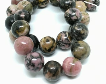 1 lot of 10 round beads 10 mm natural stone RHODONITE - oa.ao