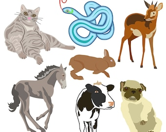 Animal Clipart, Nature Art, Cow Clipart, Snake Clipart, Antelope Clipart, Pug Clipart, Rabbit Clipart, Digital Download